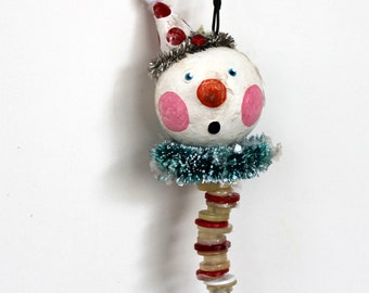 Whimsical Folkart Snowman Christmas Ornament Holiday Decoration