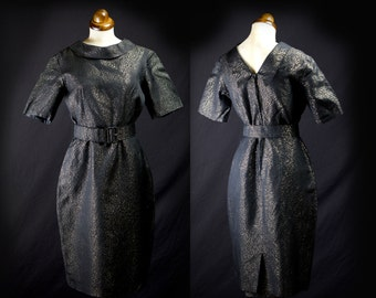 Original Vintage 1950s Black Gold Hourglass Wiggle Dress  - Small - FREE SHIPPING WORLDWIDE