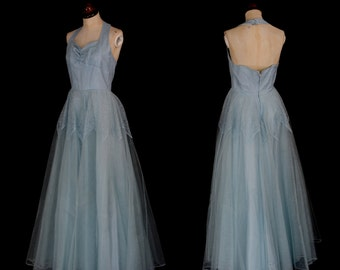 Original Vintage 1950s Pale Blue Lace Tulle Prom Ballgown Dress  - Small - FREE SHIPPING WORLDWIDE