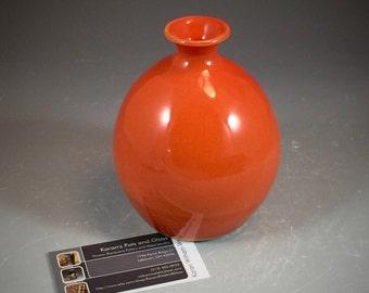 Wheel Thrown Small Vase in Tangerine Orange Glaze