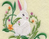 """BUNNY AND FLOWERS Embroidery on Ladies"""" Tee or Sweat by Rosemary"""