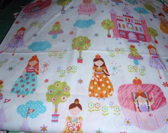 "Colorful Fairies Castle White Background Quilting Sewing 100% Cotton Fabric By Half Yard 44"" Wide"