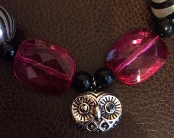 Owl face, pink, black, and purple bubble necklace