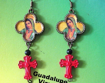 OUR lady fo Guadlupe earrings with red crosses Catholic collectible Virgin Virgen Mexicana Mexico