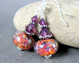 Purple Orange Glass & Sterling Silver Dangle Earrings, Rustic Earrings, Boho Jewlery, Silver Jewelry, Boro Lampwork Earrings, Gypsy Jewelry