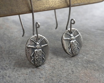 Insect Jewelry Silver Beetle Earrings