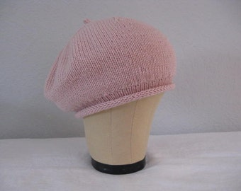 Pink Beret. Hand Knit Merino, Silk, and Cashmere Hat. Accessories.