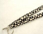 Op Check Black Cream Fabric Lanyard Breakaway Lanyard ID Badge Holder Luella Doss Hot Flash ID Clip Key Ring Fob MTO
