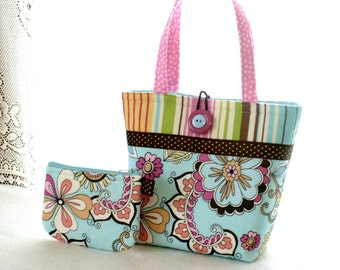 Pastel Mod Floral Cute Little Girls Purse Mini Tote Bag and Coin Purse Set Pink Blue Brown Stripe Polka Dots Handmade MTO