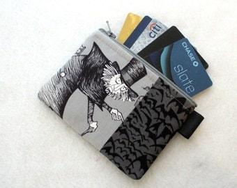 Ghastlies Halloween Credit Card Case Zippered Coin Purse Wallet Business Card Holder Graveyard Ghastly Alexander Henry Gray Black Gunnar TGS