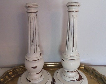 Tall Distressed White Wooden Candle stick set ~ Pair Shabby Chic ~ Cottage Painted
