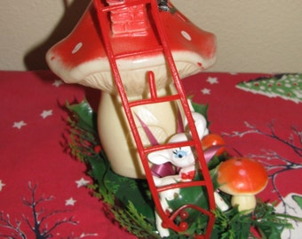 Vintage Mid Century Table Top Decor Santa Climbing Mushroom Rooftop  More Mushrooms & White Deer