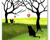 Black Cats - Long Distance Friend Love Family- Missing You ArT Prints by Bihrle ck506