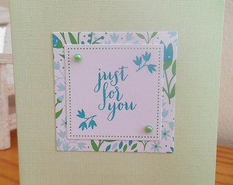 Just For You Card - Mint Green Flowers