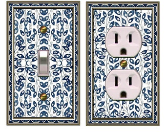 1147X  COMBO of 2 Switchplates Delft Tile Vines Switchplates   mrs butler  (can be purchased separately)