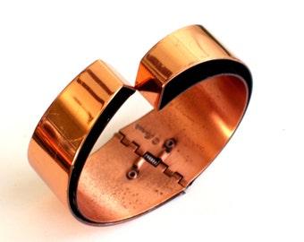Modernist Renoir Copper Bracelet, Vintage RENOIR Copper Wide Modernist Hinged Clamper Bangle Bracelet, Vintage Copper Jewelry