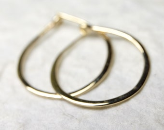 Medium Solid 14k Gold Hoops - 3/4 Inch Hand Forged Solid Gold Hoops - 14 Karat Yellow Gold Hoop Earrings