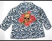 Rockabilly Leopard Print Jacket Skull and Roses ........Size 12 months