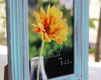 Just Be You Typography Photo Frame ,  Inspirational Home Decor , Flower Art
