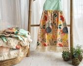 SALE Girl's Dress - Boho Dress - Floral with Fringe Trim- Adjustable Ric Rac Straps - made in Maui, Hawaii
