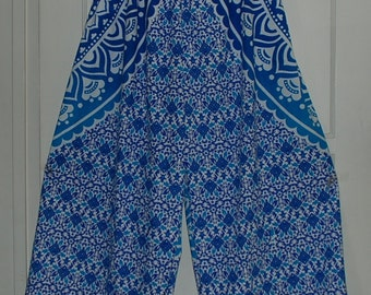 "Hippie Pants- Length 41 ""- Hips 56"" -White Blue Mandala - one size fits most- read measurements"