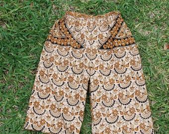 "Hippie Kids pants -Tan Black - size 2 -Boys or Girls- Read measurements..this size two is 1"" longer"