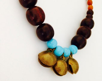 Chunky Tribal Necklace with vintage Indian brass bells, lost wax casting, glass and wood beads