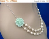 Bridesmaid Jewelry Set of 6 Mint Rose and Pearl Double Strand Wedding Necklaces