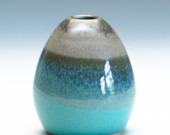 Tan Aqua Green Vase / Ceramic Vessel