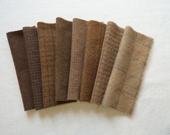 Brown- Hand Dyed Felted Wool in a Beautiful Collection a Perfect Rug Hooking and Applique Wool