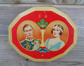 RARE 1939 King George Queen Elizabeth Tin Commemorative Royal Visit