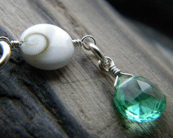 South Sea cats eye operculum Eye of Shiva necklace with aquamarine quartz - sterling silver shell handmade jewelry