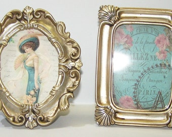 Home Decor, Pictures, Picture Frames, Turquoise, Victorian, Parisian, Paris, Mid Century, France, French, Gold, Gifts for Her, Birthday Gift