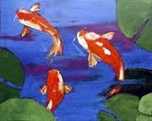 Impressionist Plein Air Oil Painting Koi Pond Landscape Art 16x20 Lynne French