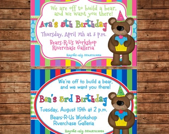 Girl or Boy Teddy Bear Build Bear Birthday Invitation - DIGITAL FILE