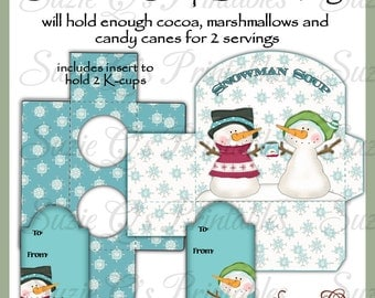 Snowman Soup Gift Box and Tags - Holds cocoa, marshmallows and candy canes or 2 K Cups - Digital Printable - Immediate Download