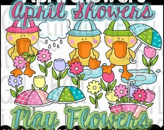 April Showers Clipart Collection - Immediate Download