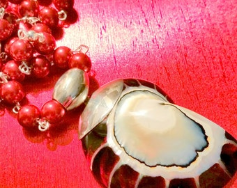 Nautilus Shell Pendant with Red Shell Pearl Necklace