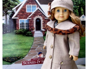 Eighteen Inch Doll Clothes Fall/Winter Faux Trimmed Coat and Hat, Historical Thirties and Forties Era