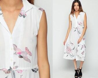 White Floral Dress Midi BIRD PRINT 70s Boho High Waist Sheer 80s Vintage Bohemian Summer Button Up Garden Party Romantic Sleeveless Medium
