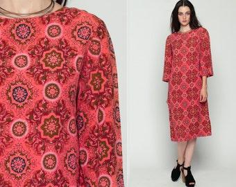 Mod Shift Dress Psychedelic 60s Midi MANDALA PRINT Floral Vintage 70s Boho Hippie Minidress Bohemian 1960s Long Sleeve Pink Medium