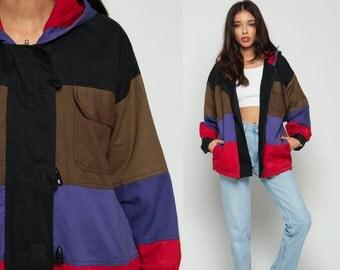 Hooded Jacket Color Block Jacket 80s GRUNGE Cotton TOGGLE Hood Hoodie Windbreaker Coat Hood 1980s Vintage Hipster Brown Red Purple Large xl
