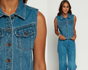 Levis Vest Denim Vest 90s Blue Sleeveless Jean Jacket LEVI Top 1990s Grunge Biker Vintage Hipster Women Faded Button Up Extra small xs