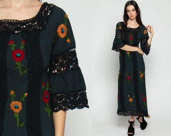 Mexican Dress CROCHET Embroidered Bohemian 70s Maxi Lace Sheer BELL Sleeve Caftan 1970s Boho Hippie Vintage Cotton Navy Blue Extra Small xs