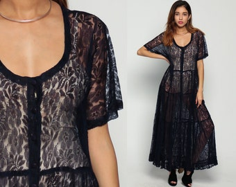 Custom Listing for Hollie - Boho LACE Dress Sheer 90s Maxi Grunge Boho GOTH Button Up TIERED Midnight Blue 1990s Vintage Medium Large