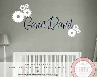 ON SALE Boy Name Vinyl Wall Decals - Gear Wall Decals - Monogram Wall Decal for Bedroom Nursery or Playroom 22 x 42 FN0533