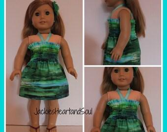 Halter Sundress Rainforest Theme  Fits 18 inch dolls