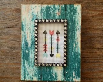 Arrow cross stitch, arrow wall decor, arrow embroidery, ready to ship