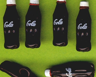 TINY COLA BOTTLES - Drink Fizzy Pop Junk Food Novelty Dress It Up Craft Buttons