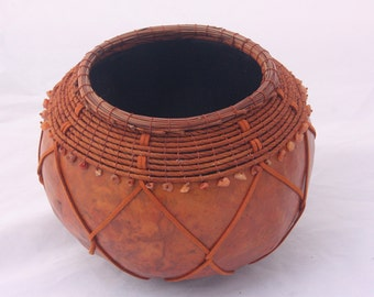 Orange gourd bowl with leather -  Item 779 by Susan Ashley